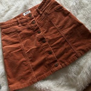 Forever 21 burnt orange button down skirt